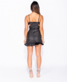 Wet Look Ruched Cut Out Detail Frill Hem Bodycon Mini Dress